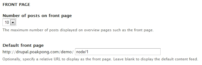 configuration front page in drupal 7