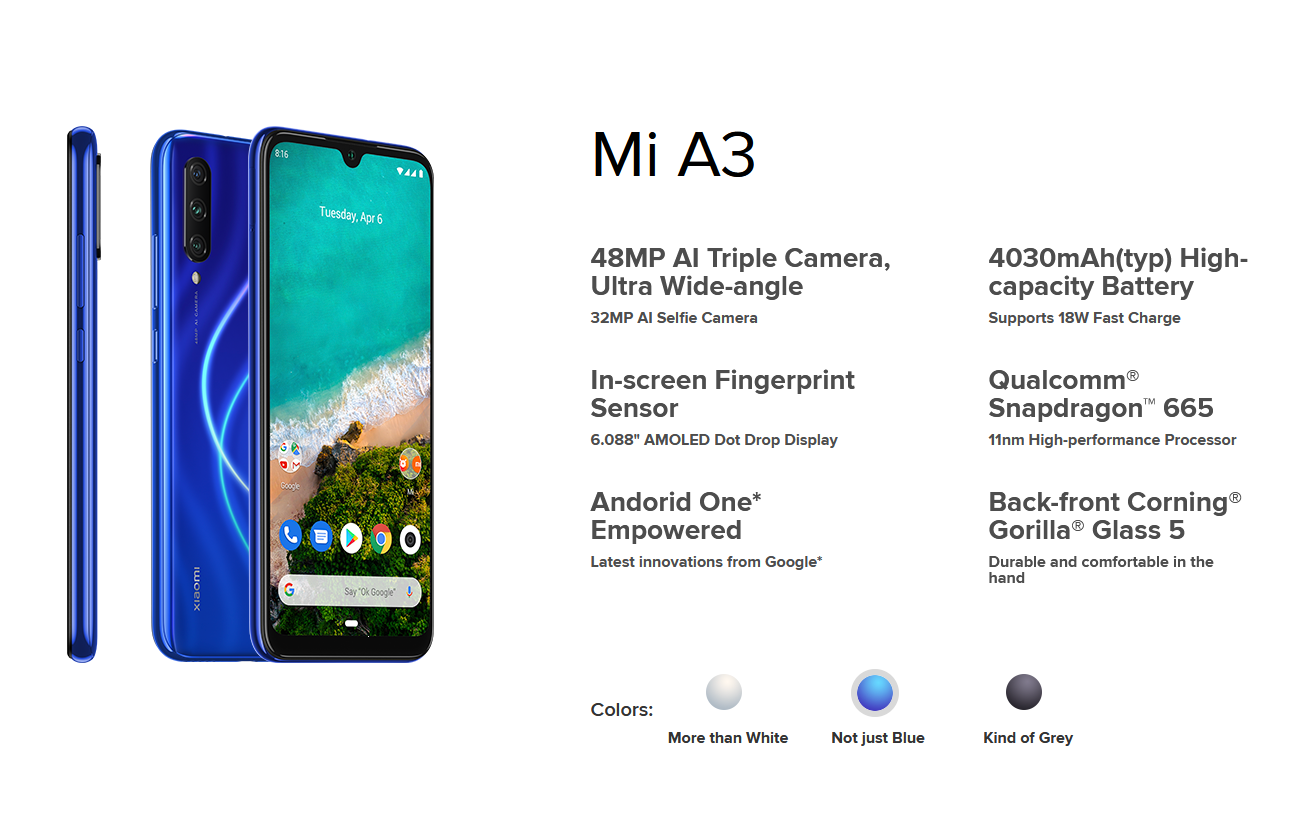 Tech Spec Xiaomi Mi A3 with Android One 2019